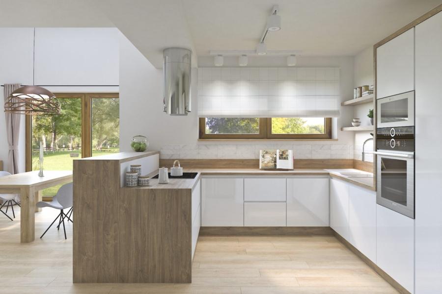 ProsteWnetrze_PL - projekt wnetrza salonu z kuchnia